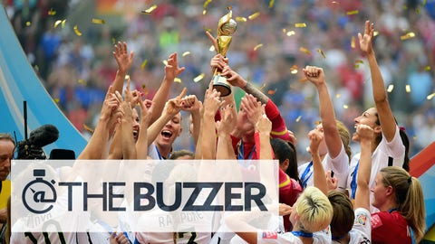 Jul 5, 2015; Vancouver, British Columbia, CAN; United States players react as they receive the FIFA Women's World Cup trophy after defeating Japan in the final of the FIFA 2015 Women's World Cup at BC Place Stadium. The United States won 5-2. Mandatory Credit: Anne-Marie Sorvin-USA TODAY Sports