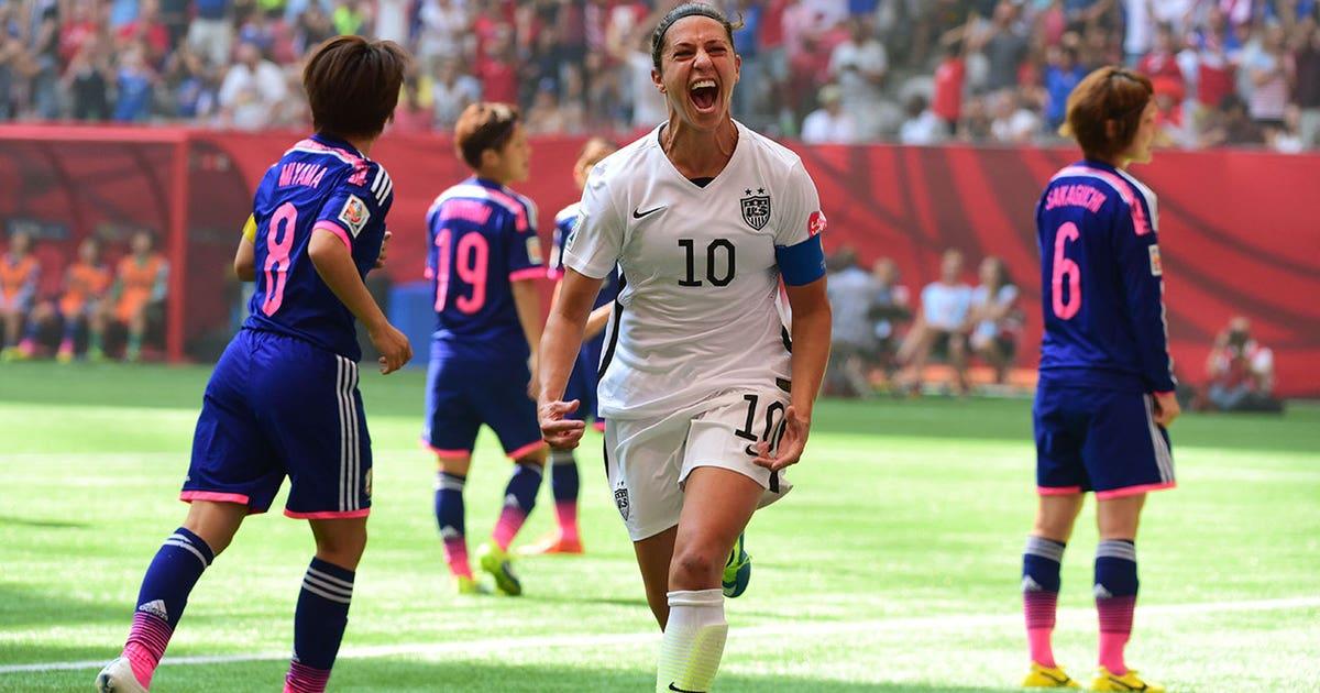 d9498242ed7 Carli Lloyd s half field strike seals hat-trick against Japan - FIFA  Women s World Cup 2015 Highlights