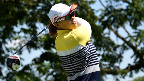 Jul 11, 2015; Lancaster, PA, USA; Amy Yang tees off the second hole during the third round of the 2015 U.S. Women's Open at Lancaster Country Club. Mandatory Credit: Kyle Terada-USA TODAY Sports