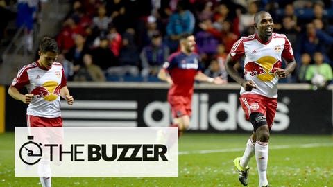 Aug 26, 2015; Chicago, IL, USA; New York Red Bulls defender Ronald Zubar (23) reacts after scoring a goal during the second half at Toyota Park. Mandatory Credit: Mike DiNovo-USA TODAY Sports