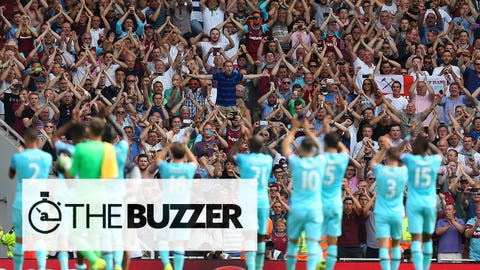 LONDON, ENGLAND - AUGUST 09:  The West Ham United team celebrate with their fans after the Barclays Premier League match between Arsenal and West Ham United at Emirates Stadium on August 9, 2015 in London, England.  (Photo by Catherine Ivill - AMA/Getty Images)