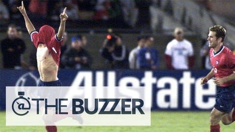 LOS ANGELES, UNITED STATES:  USA National soccer team forward Landon Donovan (L) celebrates his goal against the Mexican National team as teammate Greg Vanney (R)  runs to congratulate him during the second half of the two clubs' 25 October 2000 friendly match at Memorial Coliseum in Los Angeles, CA. USA beat Mexico 2-0.  AFP PHOTO/LEE CELANO (Photo credit should read LEE CELANO/AFP/Getty Images)