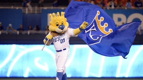 Aug 14, 2015; Kansas City, MO, USA; Kansas City Royals mascot Sluggerrr waves a flag after the game against the Los Angeles Angels at Kauffman Stadium. Kansas City won the game 4-1. Mandatory Credit: John Rieger-USA TODAY Sports