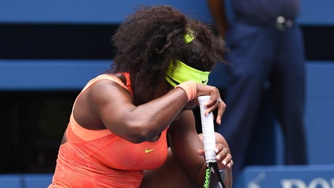 Sep 11, 2015; New York, NY, USA; Serena Williams of the USA reacts after losing a point to Roberta Vinci of Italy on day twelve of the 2015 U.S. Open tennis tournament at USTA Billie Jean King National Tennis Center. Mandatory Credit: Robert Deutsch-USA TODAY Sports