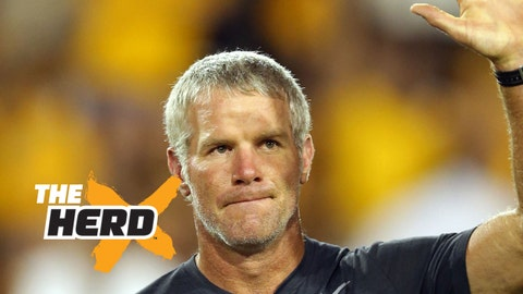 Sep 5, 2015; Hattiesburg, MS, USA; Former NFL and Southern Miss Golden Eagle quarterback Brett Favre was honored at halftime of their game against the Mississippi State Bulldogs at M.M. Roberts Stadium. Mandatory Credit: Chuck Cook-USA TODAY Sports