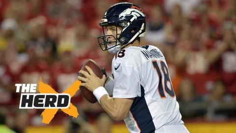Sep 17, 2015; Kansas City, MO, USA; Denver Broncos quarterback Peyton Manning (18) drops back to pass during the first half against the Kansas City Chiefs at Arrowhead Stadium. Mandatory Credit: Denny Medley-USA TODAY Sports