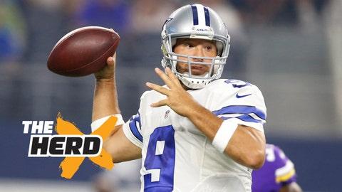 Aug 29, 2015; Arlington, TX, USA; Dallas Cowboys quarterback Tony Romo (9) throws a pass in the first quarter against the Minnesota Vikings at AT&T Stadium. Mandatory Credit: Tim Heitman-USA TODAY Sports