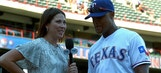 Beltre tries to avoid ice shower after win