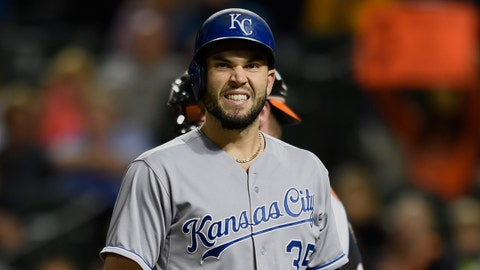 Kansas City Royals' Eric Hosmer reacts after striking out against the Baltimore Orioles in the ninth inning of a baseball game, Sunday, Sept. 13, 2015, in Baltimore. The Orioles won 8-2. (AP Photo/Gail Burton)