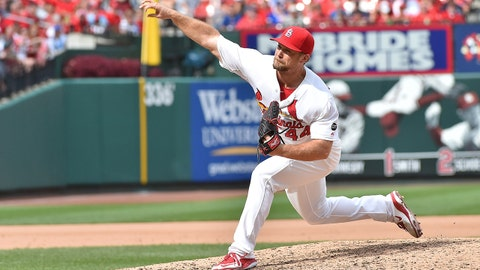 Sep 9, 2015; St. Louis, MO, USA; St. Louis Cardinals relief pitcher Trevor Rosenthal (44) pitches in the ninth inning against the Chicago Cubs at Busch Stadium. Mandatory Credit: Jasen Vinlove-USA TODAY Sports