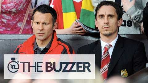 MANCHESTER, ENGLAND - APRIL 09:  Ryan Giggs (L) of Manchester United and Gary Neville look on during the Barclays Premier League match between Manchester United and Fulham at Old Trafford on April 9, 2011 in Manchester, England.  (Photo by Michael Regan/Getty Images) *** Local Caption *** Ryan Giggs;Gary Neville