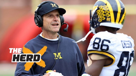 Oct 3, 2015; College Park, MD, USA; Michigan Wolverines head coach Jim Harbaugh congratulates wide receiver Jehu Chesson (86) following his touchdown against the Maryland Terrapins at Byrd Stadium. Mandatory Credit: Mitch Stringer-USA TODAY Sports
