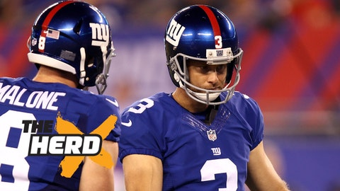Aug 22, 2015; East Rutherford, NJ, USA; New York Giants kicker Josh Brown (3) celebrates with punter Robert Malone (8) after hitting a field goal during the second half at MetLife Stadium. Mandatory Credit: Danny Wild-USA TODAY Sports