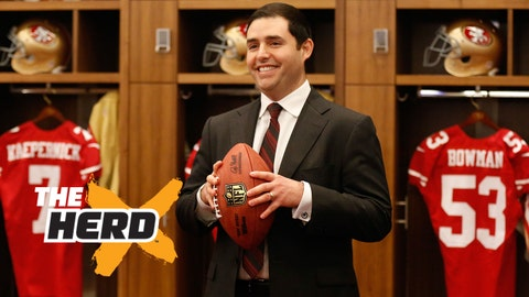 Jan 15, 2015; Santa Clara, CA, USA; San Francisco 49ers owner Jed York poses for a photo in the locker room after a press conference for the introduction of Jim Tomsula (not pictured) as the head coach at Levi's Stadium Auditorium. Mandatory Credit: Kelley L Cox-USA TODAY Sports