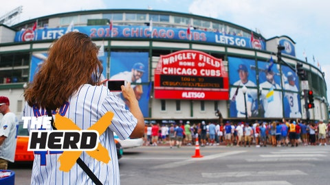 Jul 25, 2015; Chicago, IL, USA; A fan takes a picture outside of Wrigley Field before the game between the Chicago Cubs and the Philadelphia Phillies. Mandatory Credit: Caylor Arnold-USA TODAY Sports