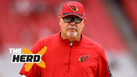 Sep 13, 2015; Glendale, AZ, USA; Arizona Cardinals head coach Bruce Arians prior to the game against the New Orleans Saints at University of Phoenix Stadium. Mandatory Credit: Mark J. Rebilas-USA TODAY Sports