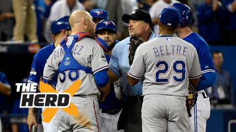 Oct 14, 2015; Toronto, Ontario, CAN; Texas Rangers relief pitcher Sam Dyson (47) watches as teammates Chris Gimenez (38) and Adrian Beltre (29) argue with umpires and members of the Toronto Blue Jays after the 7th inning in game five of the ALDS at Rogers Centre. Mandatory Credit: Peter Llewellyn-USA TODAY Sports