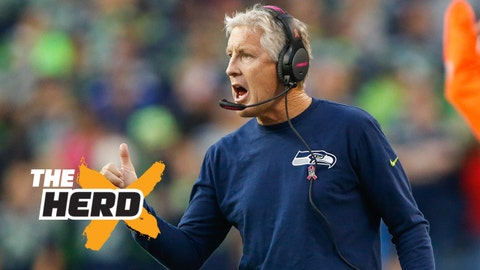 Oct 5, 2015; Seattle, WA, USA; Seattle Seahawks head coach Pete Carroll reacts to a play against the Detroit Lions during the second quarter at CenturyLink Field. Seattle defeated Detroit, 13-10. Mandatory Credit: Joe Nicholson-USA TODAY Sports