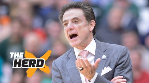 Mar 29, 2015; Syracuse, NY, USA; Louisville Cardinals head coach Rick Pitino calls out to his team playing against the Michigan State Spartans in the finals of the east regional of the 2015 NCAA Tournament at the Carrier Dome. Mandatory Credit: Mark Konezny-USA TODAY Sports