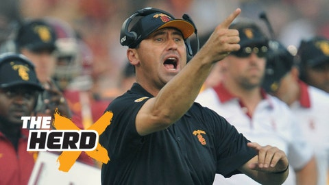 September 12, 2015; Los Angeles, CA, USA; Southern California Trojans head coach Steve Sarkisian watches game action against the Idaho Vandals during the first half at Los Angeles Memorial Coliseum. Mandatory Credit: Gary A. Vasquez-USA TODAY Sports