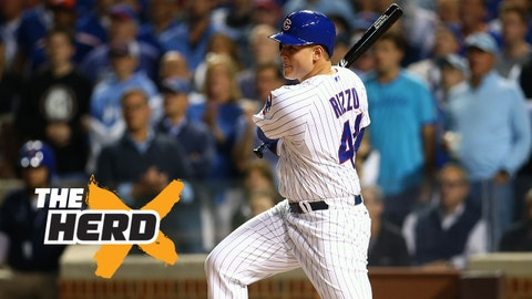 October 20, 2015; Chicago, IL, USA; Chicago Cubs first baseman Anthony Rizzo (44) hits a single in the fourth inning against the New York Mets in game four of the NLCS at Wrigley Field. Mandatory Credit: Jerry Lai-USA TODAY Sports