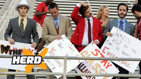 Nov 2, 2013; Tallahassee, FL, USA; Florida State Seminoles fans dressed up as the Channel 4 news team from the movie Anchorman get set up before the game against the Miami Hurricanes at Doak Campbell Stadium. Mandatory Credit: John David Mercer-USA TODAY Sports