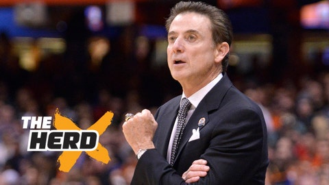 Mar 27, 2015; Syracuse, NY, USA; Louisville Cardinals head coach Rick Pitino during the first half against the North Carolina State Wolfpack in the semifinals of the east regional of the 2015 NCAA Tournament at Carrier Dome. Mandatory Credit: Mark Konezny-USA TODAY Sports