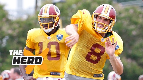 Aug 7, 2015; Richmond, VA, USA; Washington Redskins quarterback Kirk Cousins (8) throws the ball in front of quarterback Robert Griffin III (10) during joint practice with the Houston Texans as part of day eight of training camp at Bon Secours Washington Redskins Training Center. Mandatory Credit: Amber Searls-USA TODAY Sports