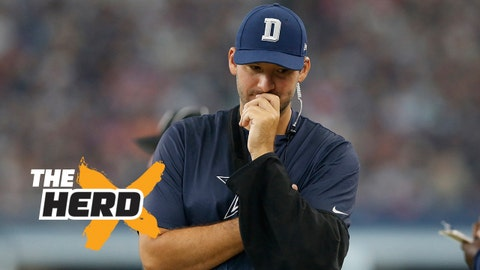 Oct 11, 2015; Arlington, TX, USA; Dallas Cowboys injured quarterback Tony Romo reacts on the sidelines during the game against the New England Patriots at AT&T Stadium. The Patriots beat the Cowboys 30-6. Mandatory Credit: Matthew Emmons-USA TODAY Sports