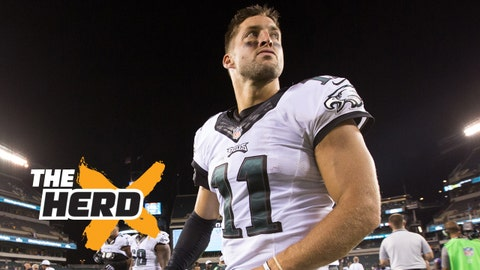 Aug 22, 2015; Philadelphia, PA, USA; Philadelphia Eagles quarterback Tim Tebow (11) walks off the field after a victory against the Baltimore Ravens at Lincoln Financial Field. The Eagles won 40-17. Mandatory Credit: Bill Streicher-USA TODAY Sports