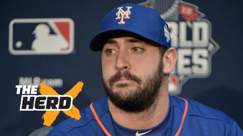Oct 26, 2015; Kansas City, MO, USA; New York Mets starting pitcher Matt Harvey (33) answers questions from media during workouts the day before game one of the 2015 World Series against the Kansas City Royals at Kauffman Stadium. Mandatory Credit: Denny Medley-USA TODAY Sports