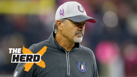 Oct 8, 2015; Houston, TX, USA; Indianapolis Colts head coach Chuck Pagano on the sidelines prior to the game against the Houston Texans at NRG Stadium. Mandatory Credit: Matthew Emmons-USA TODAY Sports