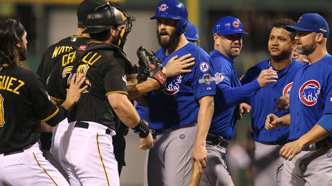 Oct 7, 2015; Pittsburgh, PA, USA; Chicago Cubs starting pitcher Jake Arrieta (49) reacts after he was hit by a pitch by the Pittsburgh Pirates during the seventh inning in the National League Wild Card playoff baseball game at PNC Park. Mandatory Credit: Charles LeClaire-USA TODAY Sports
