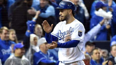 Oct 28, 2015; Kansas City, MO, USA; Kansas City Royals first baseman Eric Hosmer (35) reacts after scoring a run against the New York Mets in the 5th inning in game two of the 2015 World Series at Kauffman Stadium. Mandatory Credit: Peter G. Aiken-USA TODAY Sports