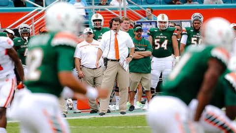 Oct 24, 2015; Miami Gardens, FL, USA; Miami Hurricanes head coach Al Golden looks on from the sideline during the first half against the Clemson Tigers at Sun Life Stadium. Mandatory Credit: Steve Mitchell-USA TODAY Sports