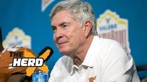 Dec 30, 2013; San Antonio, TX, USA; Texas Longhorns head coach Mack Brown reacts during the post game press conference after a game against the Oregon Ducks at Alamo Dome. Oregon defeated Texas 30-7. Mandatory Credit: Soobum Im-USA TODAY Sports