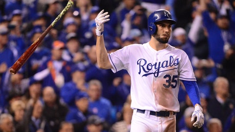 Oct 27, 2015; Kansas City, MO, USA; Kansas City Royals first baseman Eric Hosmer (35) reacts after driving in the winning run with a sacrifice fly against the New York Mets in the 14th inning in game one of the 2015 World Series at Kauffman Stadium. Mandatory Credit: Jeff Curry-USA TODAY Sports