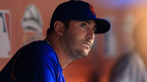 Sep 5, 2015; Miami, FL, USA; New York Mets starting pitcher Matt Harvey in the dugout during the eighth inning of a game against the Miami Marlins at Marlins Park. The Mets won 7-0.Mandatory Credit: Robert Mayer-USA TODAY Sports