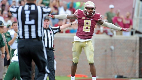 Sep 12, 2015; Tallahassee, FL, USA; Florida State Seminoles defensive back Jalen Ramsey (8) celebrates after a deflected pass during the first half of the game against the University of South Florida Bulls at Doak Campbell Stadium. Mandatory Credit: Melina Vastola-USA TODAY Sports