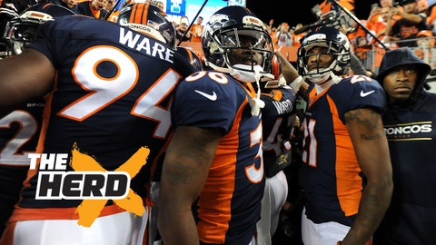 Nov 1, 2015; Denver, CO, USA; Denver Broncos outside linebacker DeMarcus Ware (94) and cornerback Kayvon Webster (36) and cornerback Aqib Talib (21) huddle before the game against the Green Bay Packers at Sports Authority Field at Mile High. Mandatory Credit: Ron Chenoy-USA TODAY Sports