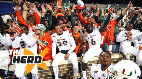 Oct 31, 2015; Durham, NC, USA; The Miami Hurricanes celebrate with their fans after beating the Duke Blue Devils 30-27 at Wallace Wade Stadium. Mandatory Credit: Mark Dolejs-USA TODAY Sports