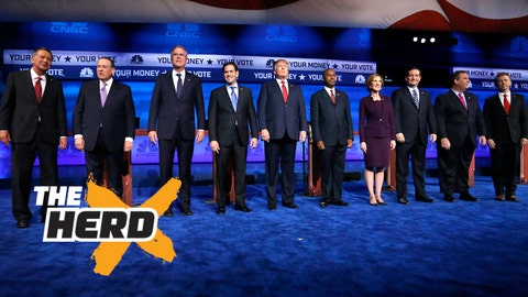 Republican presidential candidates, from left, John Kasich, Mike Huckabee, Jeb Bush, Marco Rubio, Donald Trump, Ben Carson, Carly Fiorina, Ted Cruz, Chris Christie, and Rand Paul take the stage during the CNBC Republican presidential debate at the University of Colorado, Wednesday, Oct. 28, 2015, in Boulder, Colo. (AP Photo/Brennan Linsley)