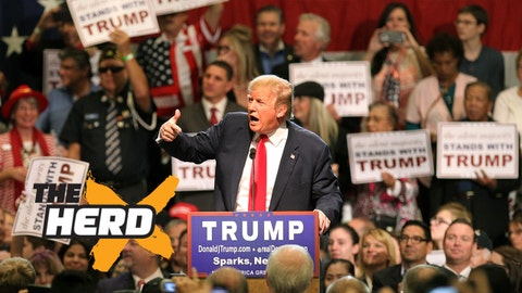 Republican presidential candidate Donald Trump gestures as he speaks during a rally at the Nugget Convention Center Sparks, Nev., Thursday, Oct. 29, 2015. (AP Photo/Lance Iversen)