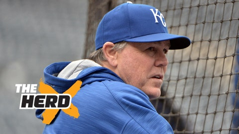 Oct 26, 2015; Kansas City, MO, USA; Kansas City Royals manager Ned Yost (3) watches batting practice during workouts the day before game one of the 2015 World Series against the New York Mets at Kauffman Stadium. Mandatory Credit: Denny Medley-USA TODAY Sports