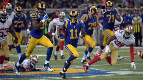 Nov 1, 2015; St. Louis, MO, USA; St. Louis Rams wide receiver Tavon Austin (11) runs the ball for a 66 yard touchdown during the second half against the San Francisco 49ers at the Edward Jones Dome. The Rams won 27-6. Mandatory Credit: Denny Medley-USA TODAY Sports
