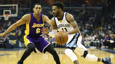 Dec 27, 2015; Memphis, TN, USA; Memphis Grizzlies guard Mike Conley (11) drives against Los Angeles Lakers guard Jordan Clarkson (6) in the first quarter at FedExForum. Mandatory Credit: Nelson Chenault-USA TODAY Sports