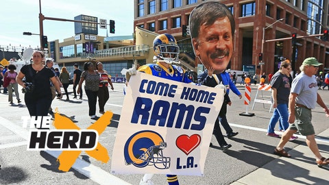 Jan 28, 2015; Phoenix, AZ, USA; St. Louis Rams super fan Mike Griffin holds a sign to move the team to Los Angeles. Mandatory Credit: Andrew Weber-USA TODAY Sports