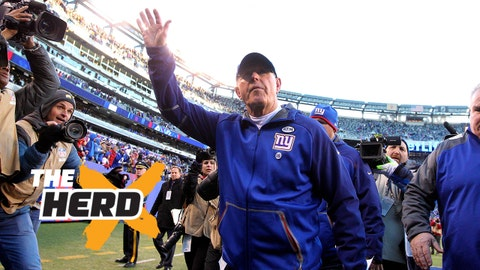 Jan 3, 2016; East Rutherford, NJ, USA; New York Giants head coach Tom Coughlin (C) waves to fans while walking off the field after the game against the Philadelphia Eagles at MetLife Stadium. The Eagles won 35-30. Mandatory Credit: Brad Penner-USA TODAY Sports