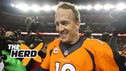 Jan 3, 2016; Denver, CO, USA; Denver Broncos quarterback Peyton Manning (18) after the game against the San Diego Chargers at Sports Authority Field at Mile High. The Broncos won 27-20. Mandatory Credit: Chris Humphreys-USA TODAY Sports