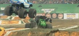 Hooked crashes into Grave Digger at Indy – 2016 Monster Jam